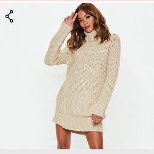 Misguided chunky roll neck knit sweater dress